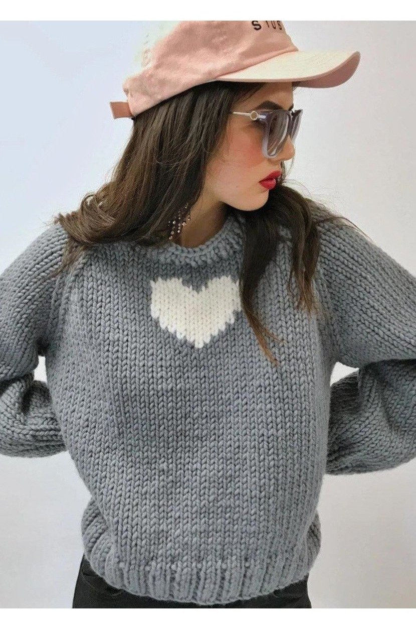 Heart Pullover-Sweaters-GOGO Sweaters-Grey-GOGO Sweaters