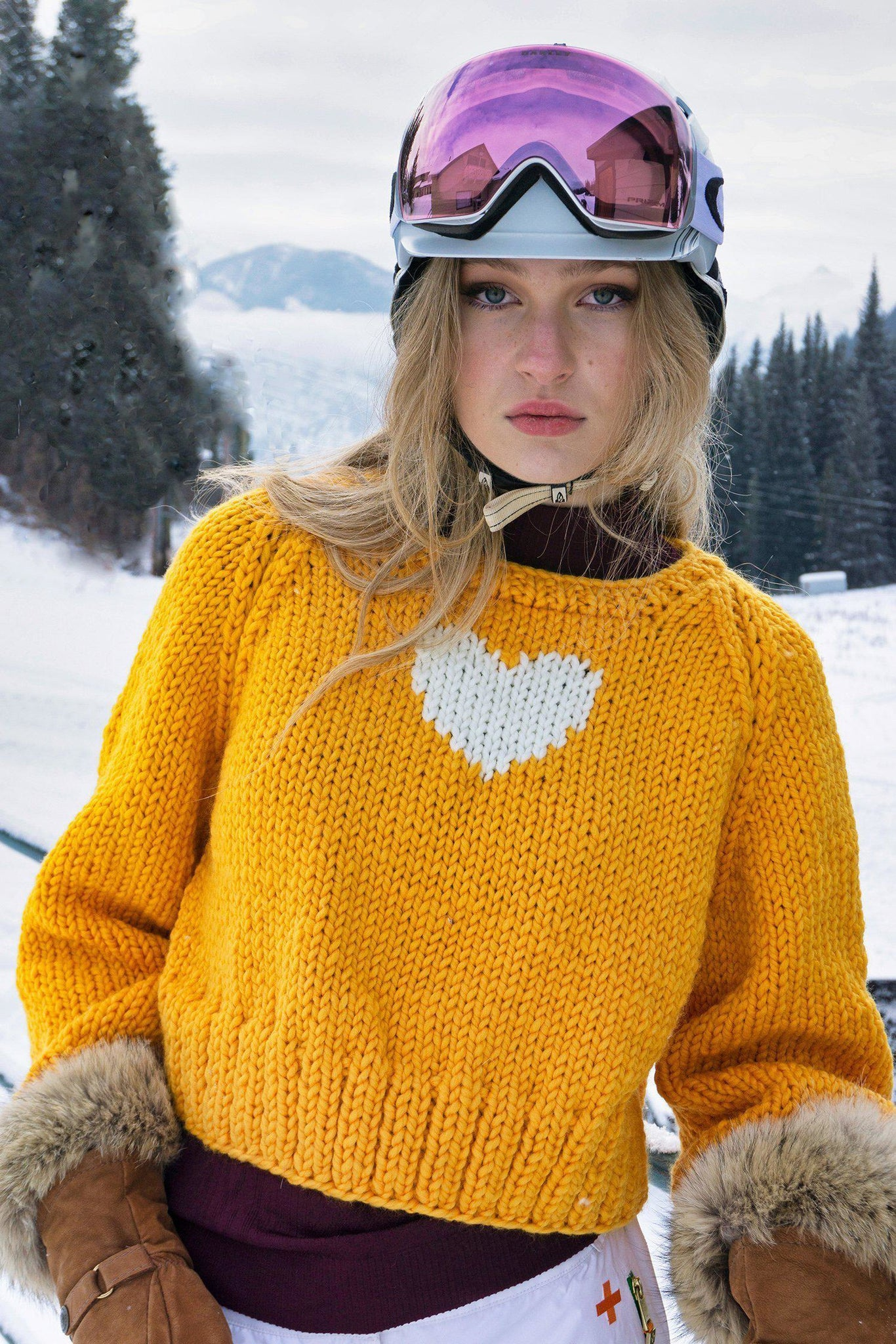 Heart Pullover-Sweaters-GOGO Sweaters-Yellow-GOGO Sweaters
