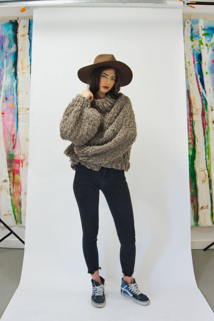 Textured Turtleneck-Sweaters-GOGO Sweaters-Twig Brown-GOGO Sweaters