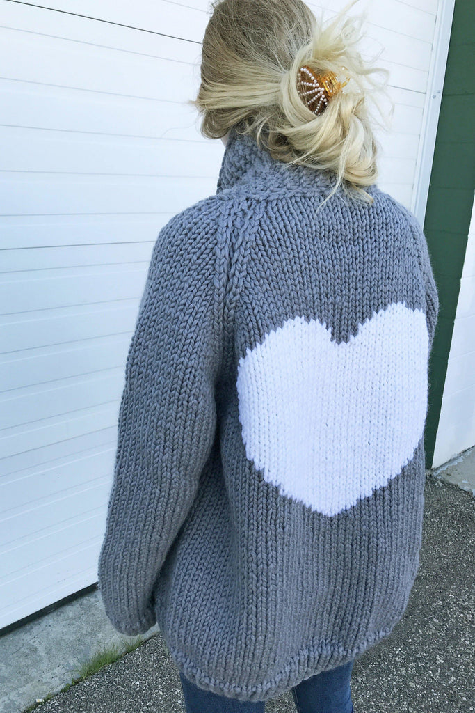 The Classic Long Heart Cardigan-Sweaters-GOGO Sweaters-Charcoal with White Heart-GOGO Sweaters