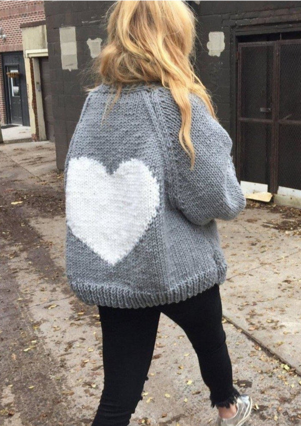 The Loose Heart Cardigan-Sweaters-GOGO Sweaters-Grey with White Heart-GOGO Sweaters