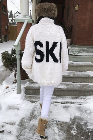 The Ski Cardi-Sweaters-GOGO Sweater-White Long-GOGO Sweaters