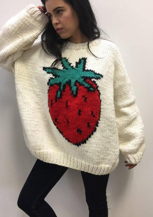 The Strawberry Oversized Knit Pullover-Sweaters-GOGO Sweaters-GOGO Sweaters