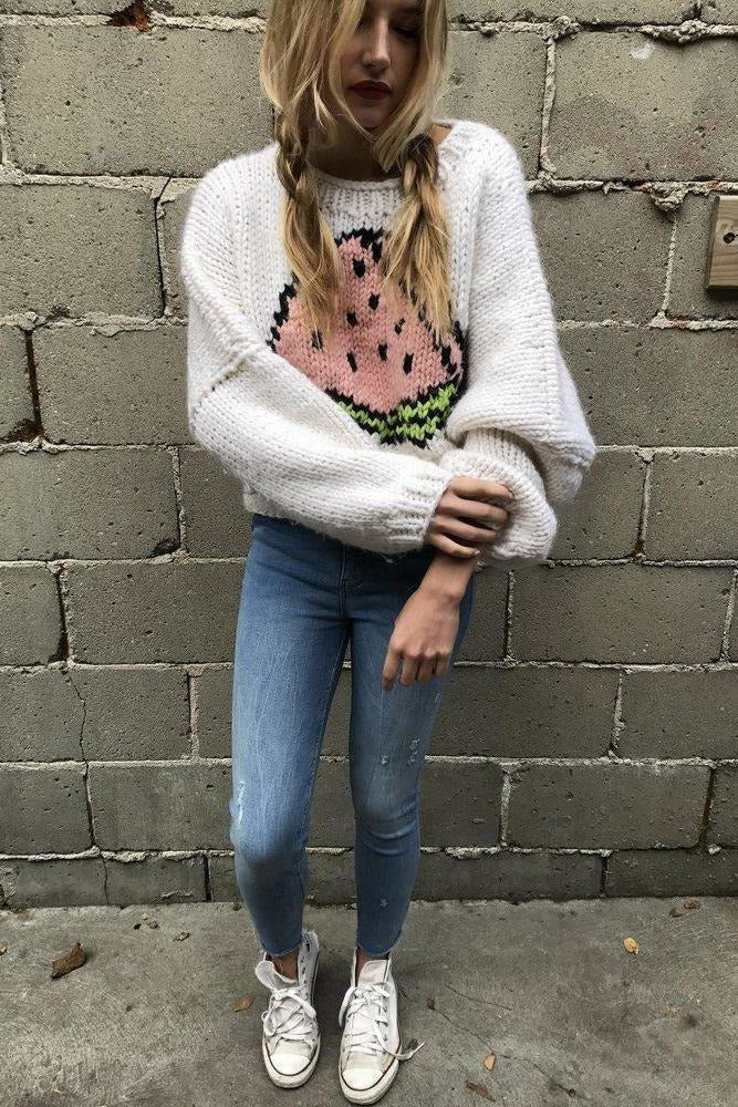 The Watermelon Knit Pullover-Sweaters-GOGO Sweaters-GOGO Sweaters