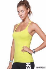 Diamond Strap Tank Top in Chartreuse