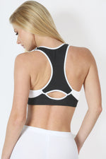 Zenana Contrast mesh-cross back sports bra in Black with White accents