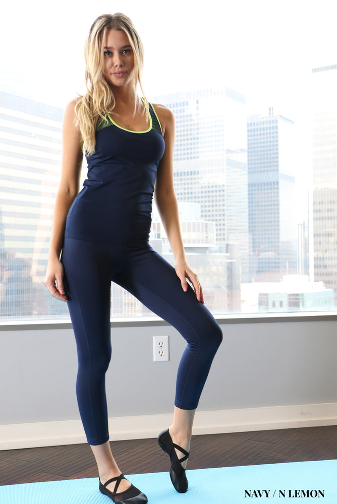 Zenana Active mesh-paneled tank - Navy with Yellow