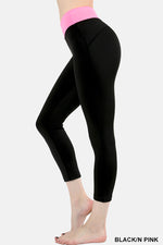 Zenana Stylish Compression cropped leggings in two tone Pink waist & Black Pant