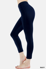 Zenana Compression cropped leggings in Navy
