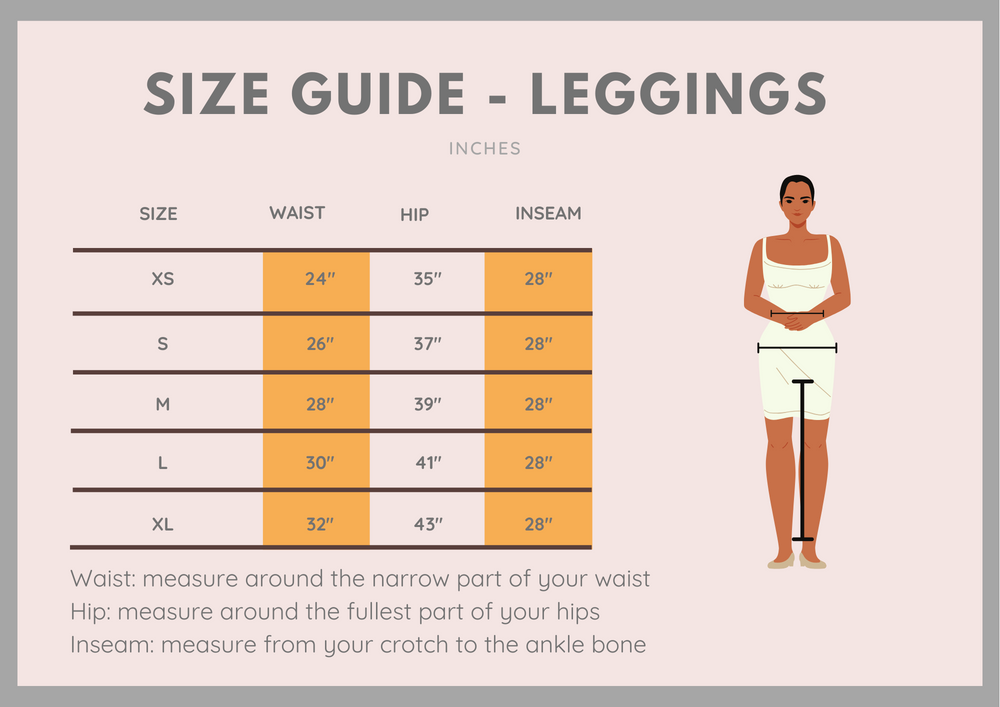 size guide for recreative apparel leggings