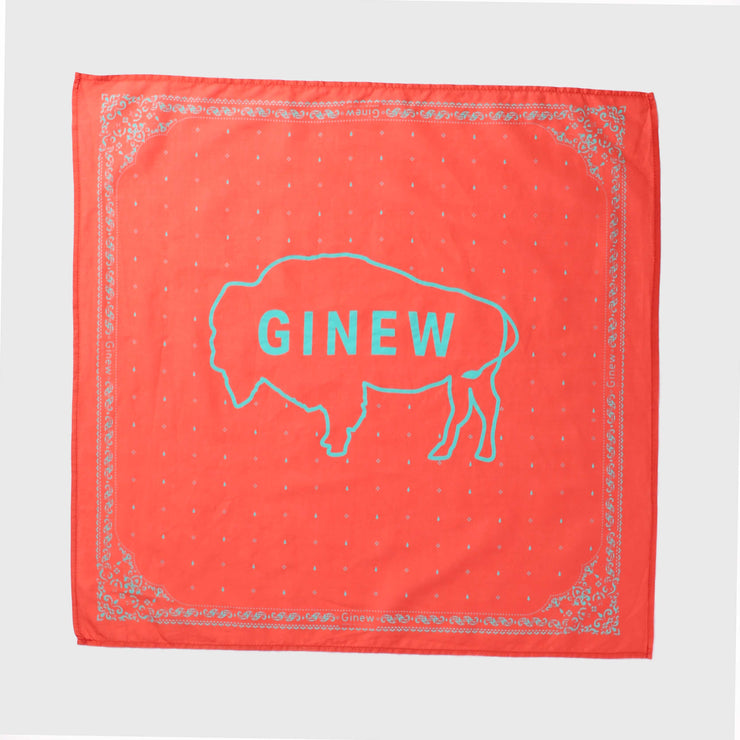 Ginew Buffalo Bandana Turkey Red + Turquoise