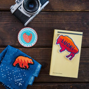 A photo of objects laying on a table. A camera, a book, and bandana, and three patches: a bear, a buffalo, and strawberry.