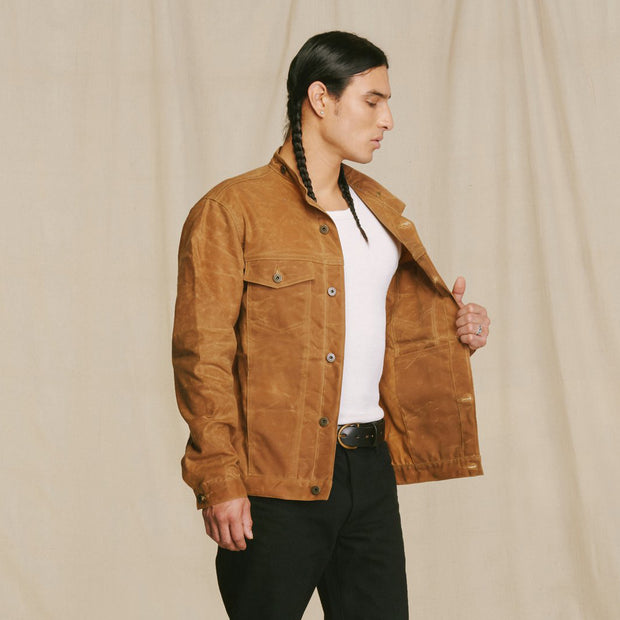 Wax Canvas Rider Jacket Brown