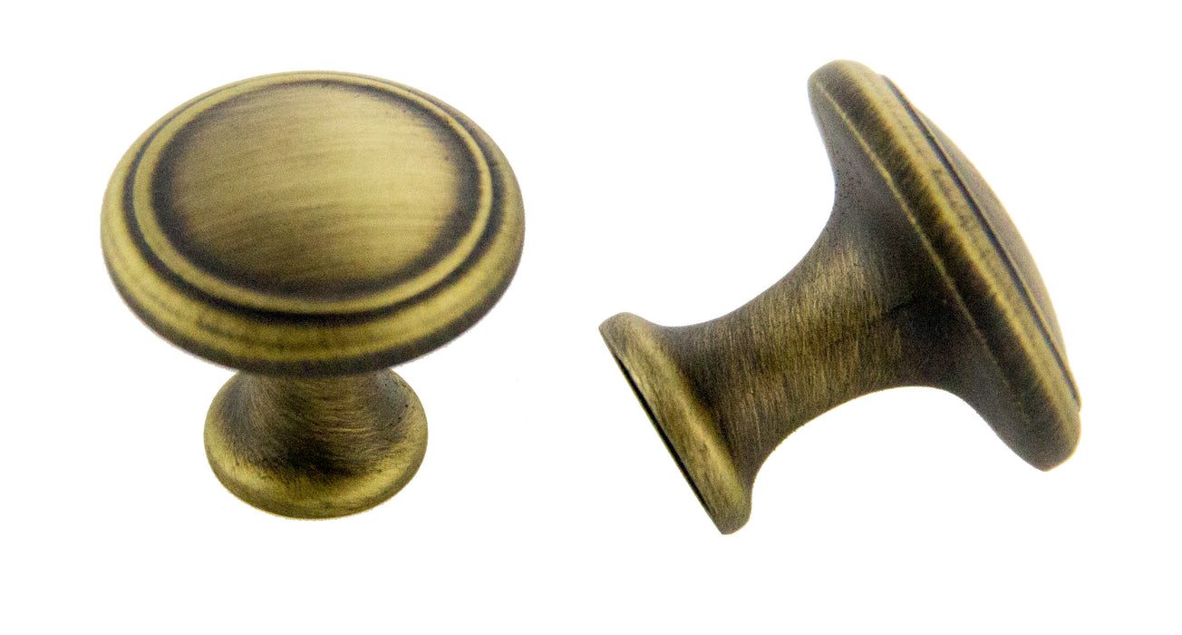 Andrew Claire Collection 30mm Deco Knob Antique Satin Brass (AC-80576.ABSB)