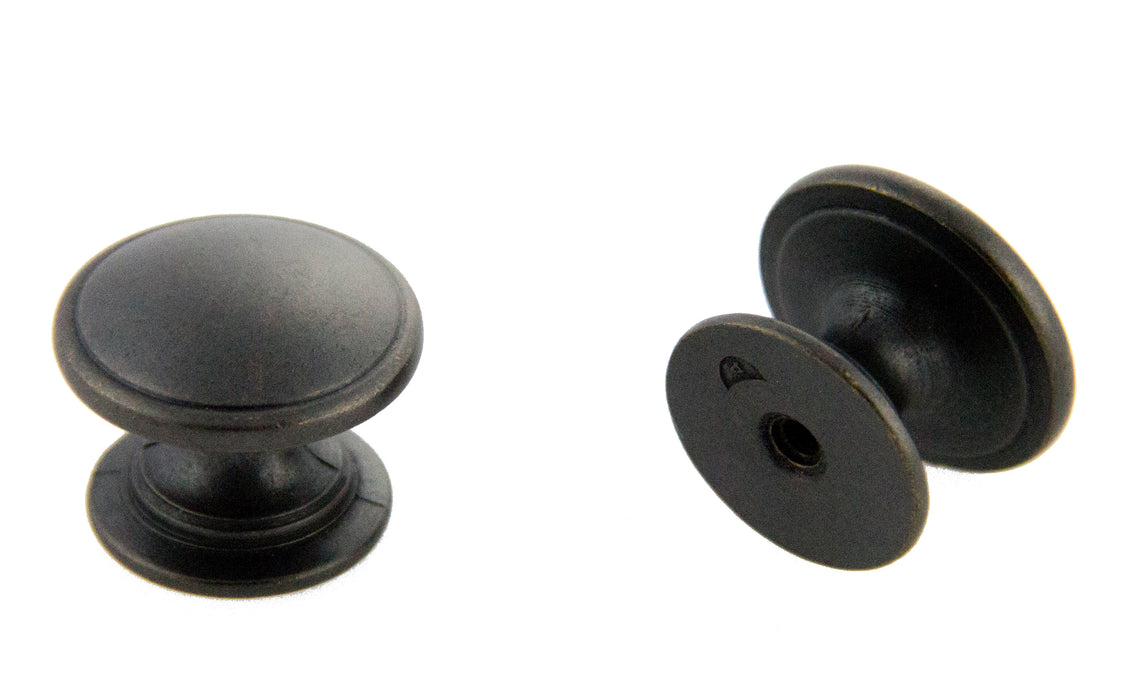 "Andrew Claire Collection 1-1/4"" Mushroom Knob Weathered Black"
