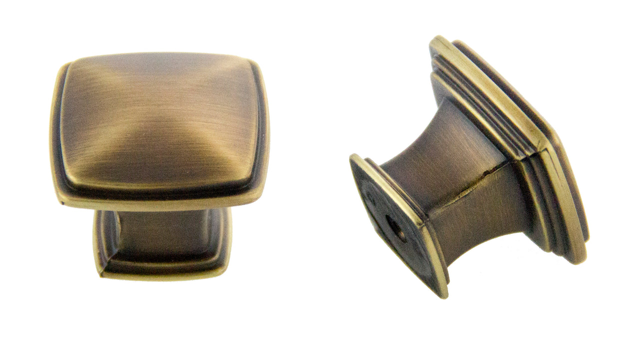 Andrew Claire Collection 32mm Square Knob Antique Satin Brass (AC-81091.ABSB)