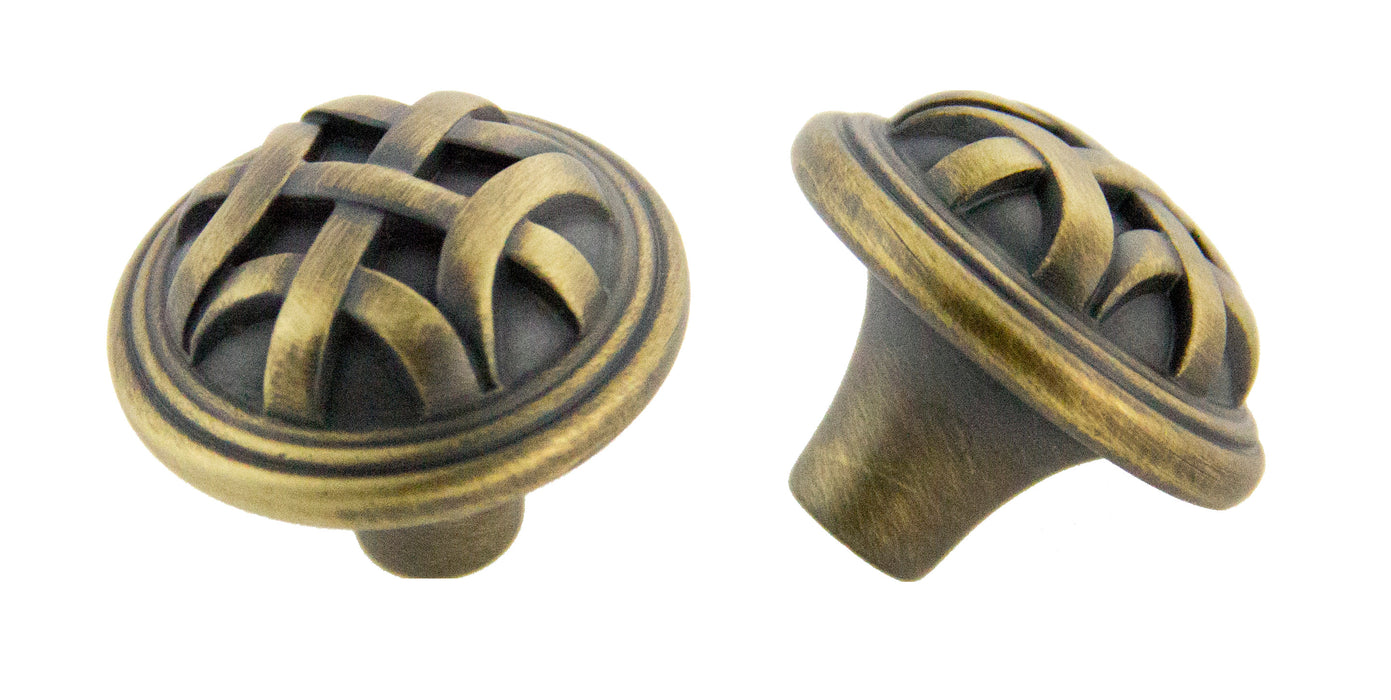 Andrew Claire Collection 32mm Braided Knob Antique Satin Brass (AC-82115.ABSB)