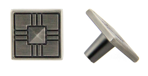 "Andrew Claire Collection 1-1/4"" Square Knob Satin Pewter"