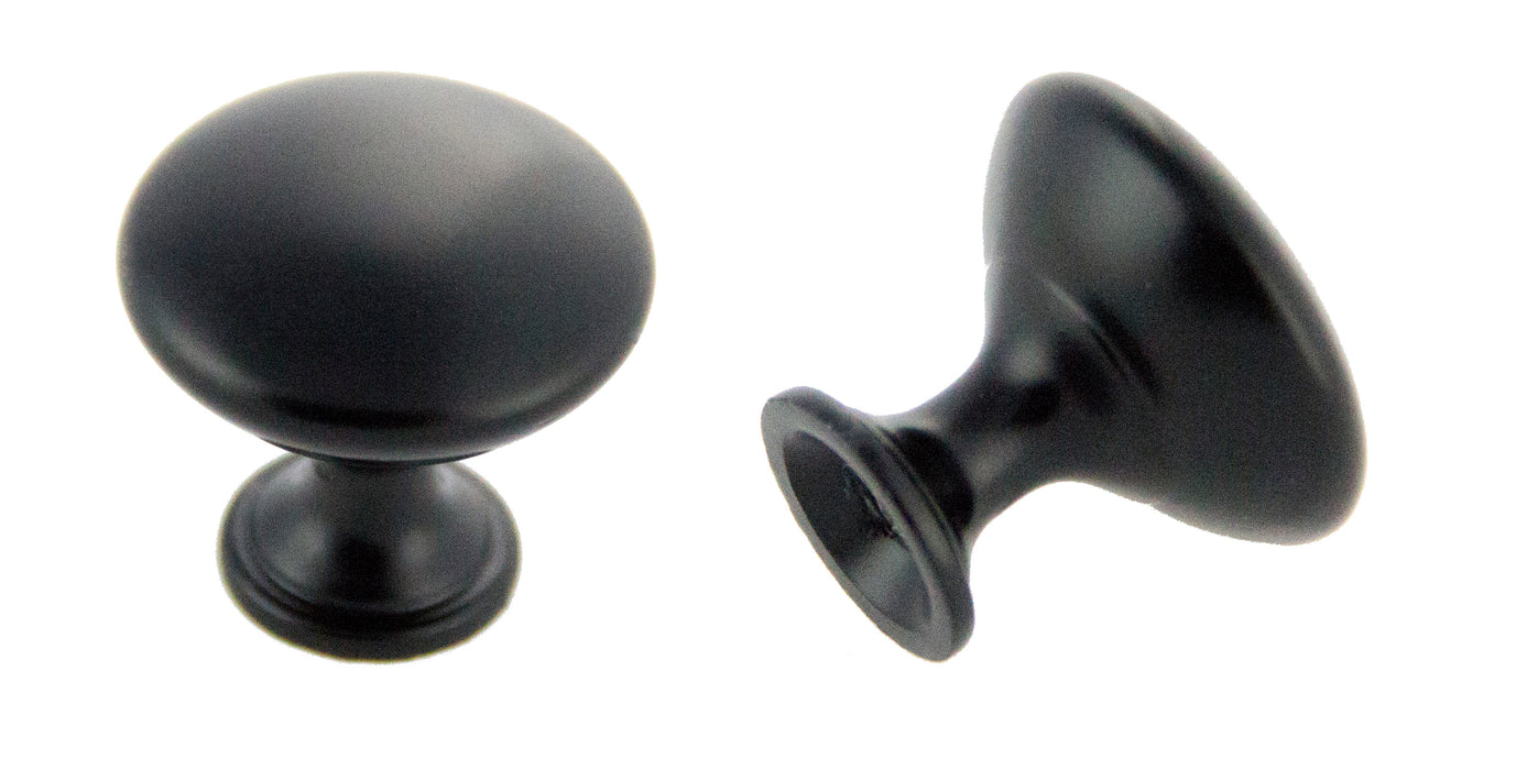 "Andrew Claire Collection 1-3/16"" Diecast Traditional Round Knob Matte Black"