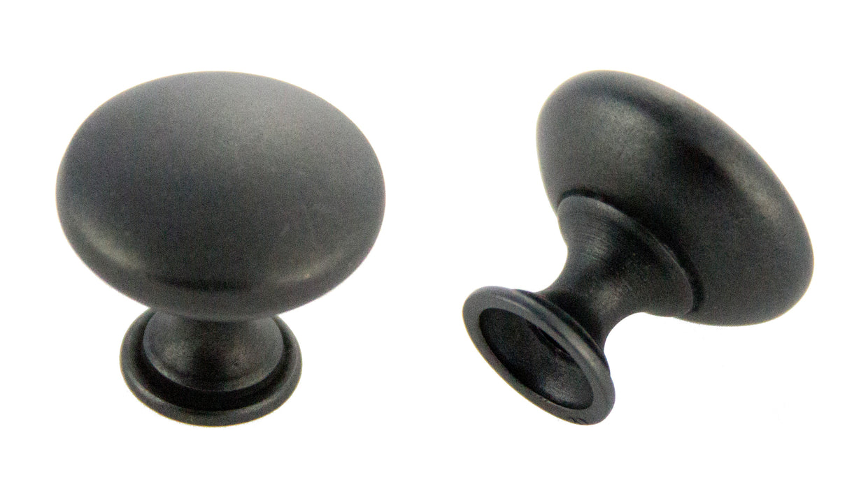 "Andrew Claire Collection 1-3/16"" Diecast Traditional Round Knob Weathered Black"
