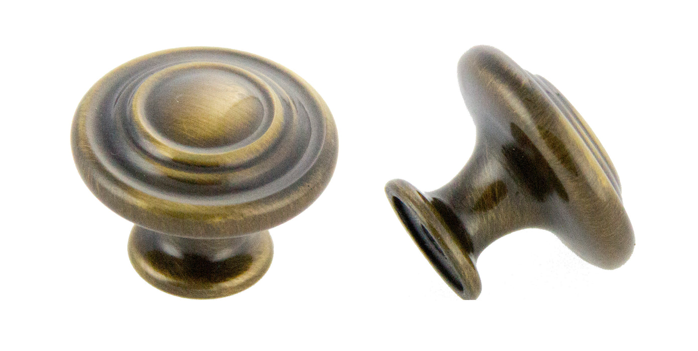 "Andrew Claire Collection 1-3/8"" Decorative Swirl Knob Antique English Polished"