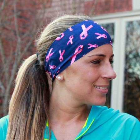 Pink Ribbon Yoga Headband
