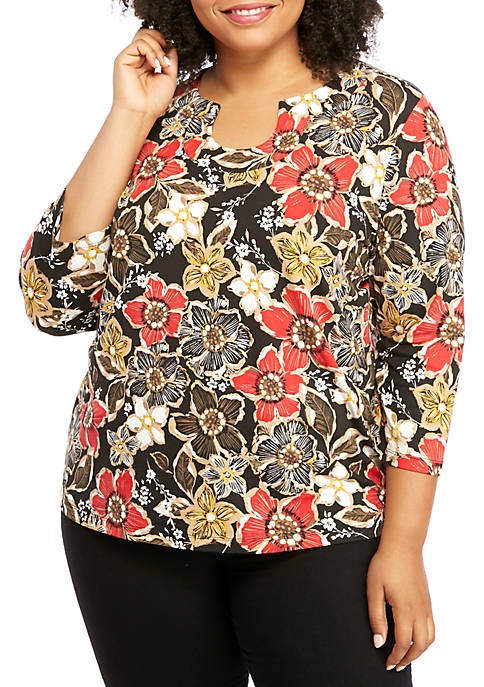 Horseshoe Neck Floral Top