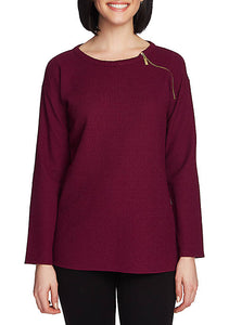 Plum Zip Collar Top