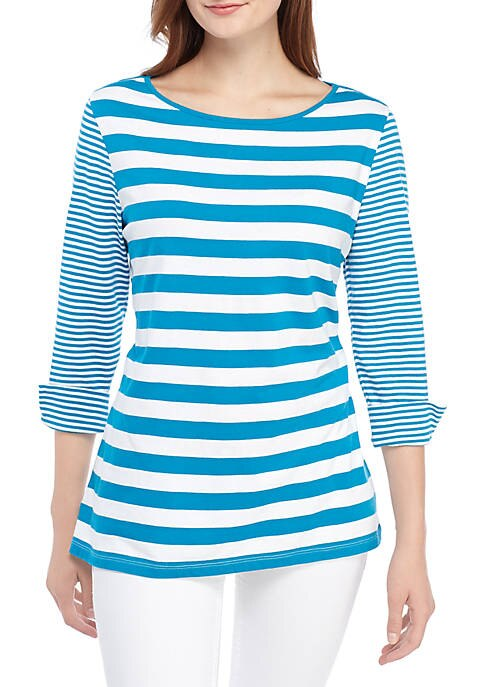 Turquoise Striped Top