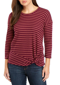 Waffle Knit Striped Top