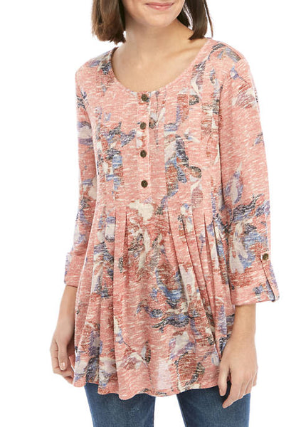 Floral Pleated Henley Tops