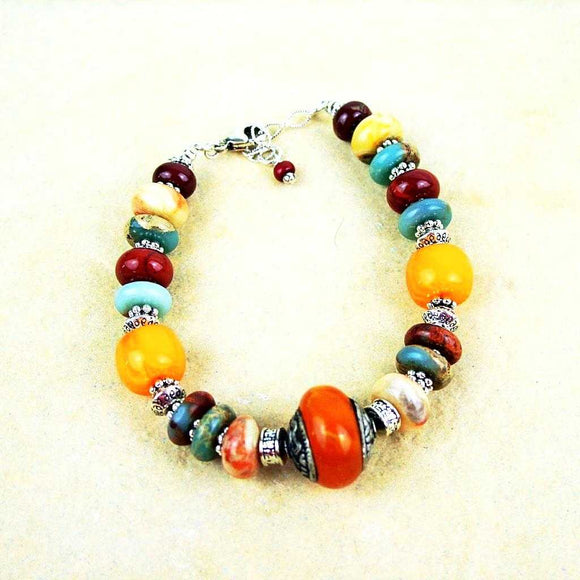 Bracelet orange et rouille - espritboheme