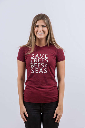 Save Bees, Trees and Seas (Short Red)