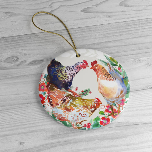 Three French Hens Ceramic Ornaments