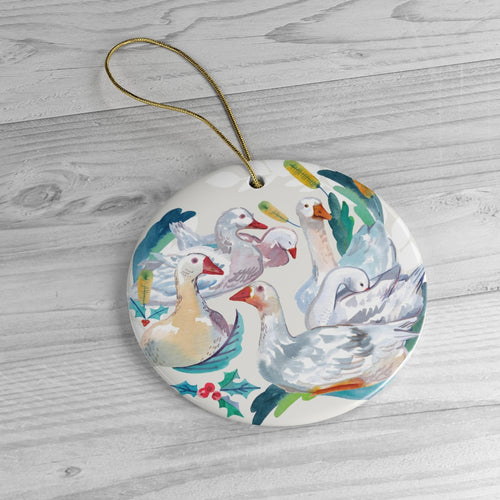 Six Geese Ceramic Ornaments
