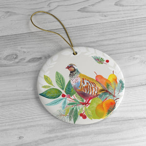 Partridge in a Pear Tree Ceramic Ornaments