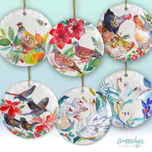 Load image into Gallery viewer, Set of Six Christmas Bird Ceramic Ornaments