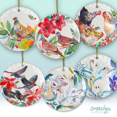 Set of Six Christmas Bird Ceramic Ornaments