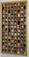 100 Thimble Display Case Holder Wall Cabinet Shadow Box, with REAL GLASS door, Felt Interior Background-Oak Finish (TC100-OA)