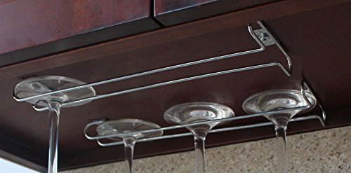 Under Cabinet Wine Glass Stemware Rack Holder Hanger for Kitchen Home Bar 4 Rows