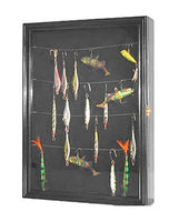 Display Case Wall Cabinet Shadow Box for Fishing Lures Baits Display, FLC01 (Black)