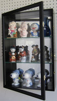 Wall Curio Cabinet / Collectors Display Case Wall Mount, Glass Door, Mirrored Back, CD01B-BLA