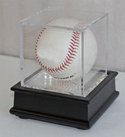 Ultra Clear UV Pro Baseball Holder Cube Display Case and Wood Stand Black, B03-BLA