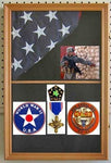 Military Shadow Box Flag Display Case Medal Keepsake Box, Solid Wood, Glass Door, Wall Mountable, (Oak Finish)