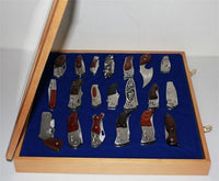 Knife Display Case Holder for pocket knives, with glass door, Wall Mountable, OAK Finish