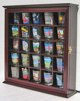 25 Souvenir Shot Glass Display Case Shadow Box Cabinet, with glass door, Cherry Finish