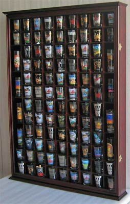 100 Shot Glass Display Case Holder Shadow Box Wall Cabinet, with Acrylic Door (Oak Finish)