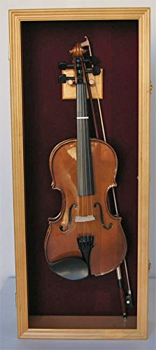 Fiddle, Violin Display Case Shadow Box with Hanger, with Lock (Oak Finish)