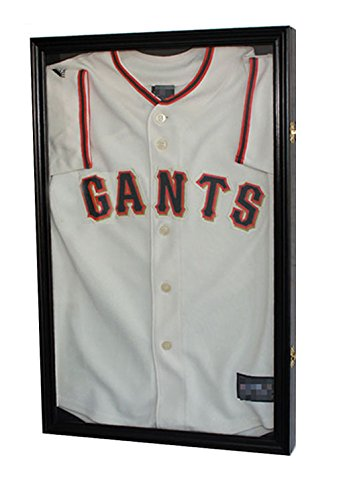 "25""H X 16"" SMALL Boy's Size Sport Jersey Display Case Shadow Box Cabinet (Black Finish)"