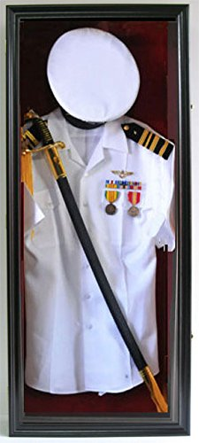 Military Shadow Box Uniform Sword/Gun Display Case, with Lock. Black Finish (Black Finish)